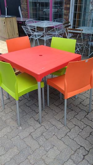 Multi colored kiddies table and chairs