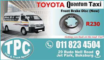 Toyota Quantum Front Brake Disc - New & Used Quality Replacement Taxi Spare Parts.