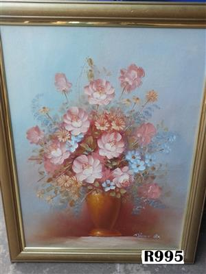 Robert Cox Oil Painting long vase (550x690)