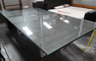 12 to 14 Seater Darkwood Boardroom/Meeting Table with Glass Top - R4500
