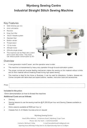 Brand new straight stitch industrial sewing machine for sale at wynberg sewing service/repair center