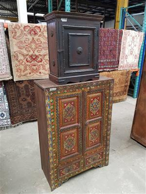 Dark wooden safe and cabinet for sale
