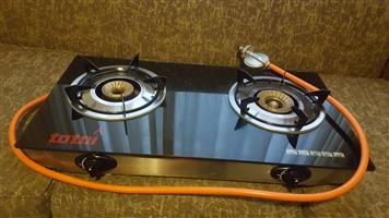 Gas stove 2 plate table top glass top