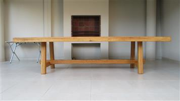 French Craftsmanship, Solid French Oak table 3mx1.2m