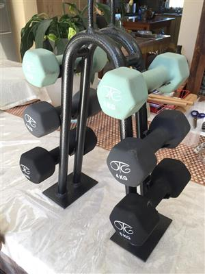 OTG Dumbbell Rack with dumbbells