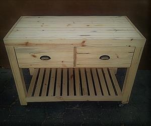 Kitchen Island Farmhouse series 1200 mobile with drawers - Raw