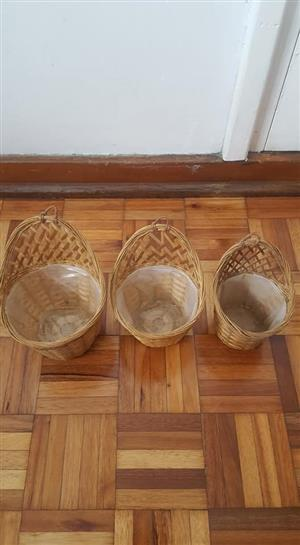 3 Basket dustbins for sale