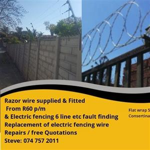 Spike Fencing / Razor wire supply and fitted ; Electric fencing at low cost