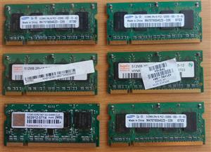 6 X 512MB DDR2 laptop memory. R100 for the lot.