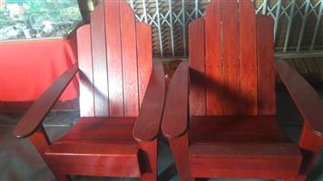 3 X Patio Wooden chairs