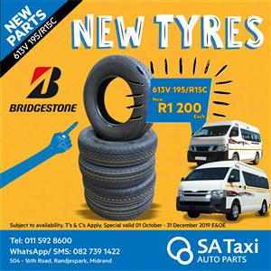 New Bridgestone 613V 195/R15C Taxi Tyre - SA Taxi Auto Parts quality spares