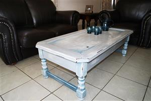 Unique hand painted distressed coffee table - one of a kind