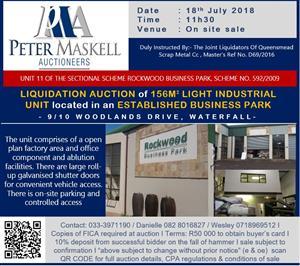 Urgent Liquidation Auction of light industrial sectional title unit - Auction date: 18 July 2018