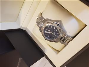 Tag Heuer aquaracer men's blue dial watch with box and valuation certificate. Authentic