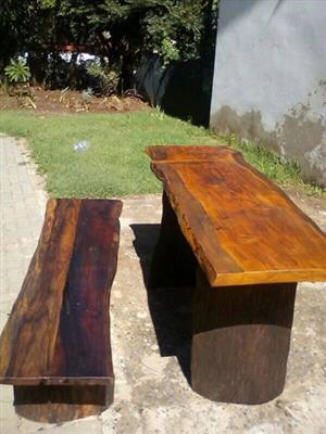 Wooden log table and bench