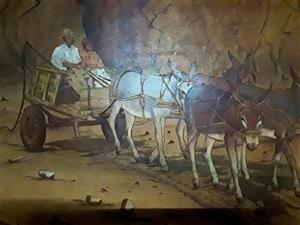 Colourful donkey cart leather freehand pyrography by South African artist S. V. Dreyer done in 1985. One of a kind. Superb huge framed 108x82 cm. done on Kudu leather.
