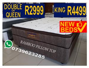 New Luxury BambooPillow Top Queen bed R2999 King R4499.We deliver same day in Gauteng.Fully Stocked