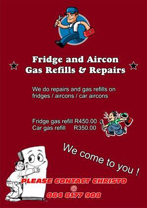 gas refill on fridges & cars