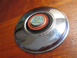 Toyota Corona 1967 license disk holder, original, vintage, 8 cm diameter