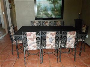 Iron Diningtable with  8  chairs