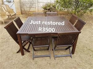8 Seater dark wooden patio set