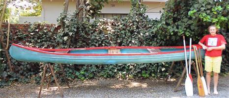 Open Canadian canoe C2 for sale (fibreglass)