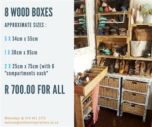 8 WOOD BOXES FOR SALE