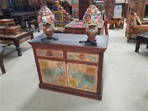 Indian 2 door cabinet with 2 lamps set for sale