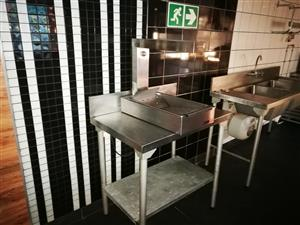 Stainless steel tables and double bowl sink