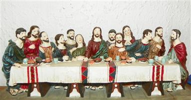 Last Supper resin figurine group, Christ and twelve apostles