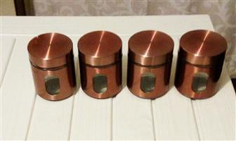 Bargain - 4 Copper Glass Containers (Tea + Coffee + Sugar)!!