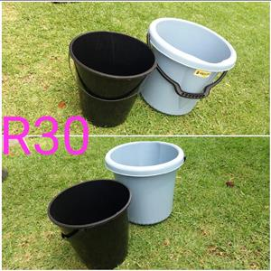 Black and grey buckets for sale