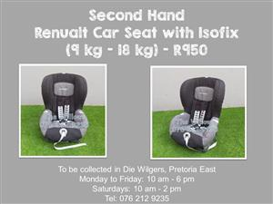 Second Hand Renualt Car Seat with Isofix (9 kg - 18 kg)