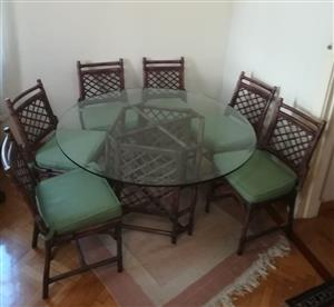 Dining room wicker table set. Beautiful design!