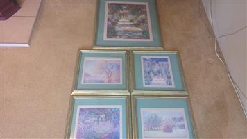 5 Piece Framed Landscape Pictures