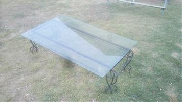 6mm Toughened glass coolblue table top 1500 X 900mm with edge cut and Coffee table base for sale