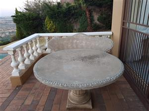 Concrete table and chairs