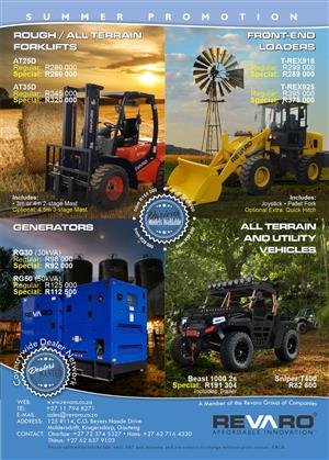 November specials Forklifts Loaders Gensets and Quads