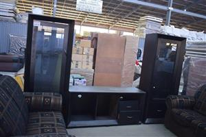 4 Piece glass door wall unit for sale