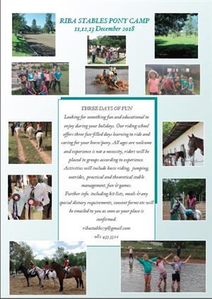 Pony Camp 11,12,13 December
