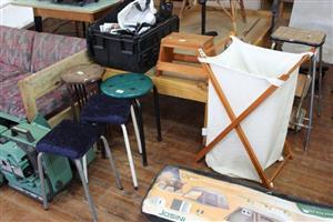 Mini stools and camping laundry basket