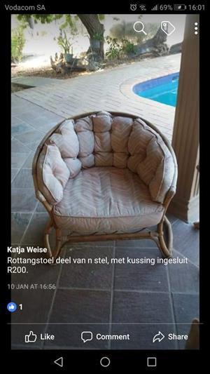 1 Seater Rottang stoel met kussings