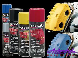 Caliper Paint  Dupli-Color Caliper Paint makes customizing brake calipers easy. This durable, protective coating is resistant to chipping, brake dust, and automotive chemicals. Formulated with ceramic resins, this high-gloss coating resists temperatures