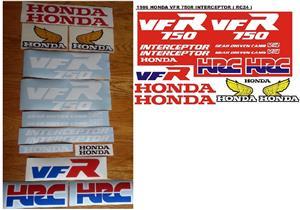 1986 VFR 750R Honda Interceptor stickers graphics set.