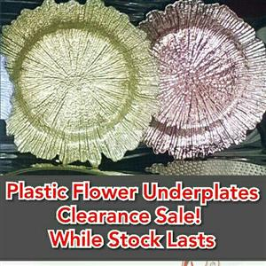 Underplates Plastic Flower Gold or Rosegold. Clearance Sale
