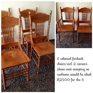 6 Colonial fanback chairs