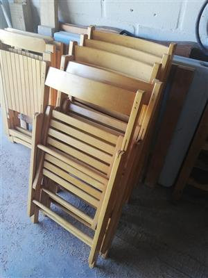 6 x Fold Up Wooden Chairs