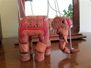 Elephant with movable joints, trunk, neck Vintage South India, Handcrafted Indian Palm Wood