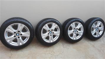 Original BMW 16 Inch Mags with Runflat Firestone Firehawk Tyres
