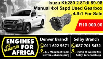 Isuzu Kb280 2.8Tdi 89-98 4Jb1 Manual 4x4 5speed Used Gearbox For Sale